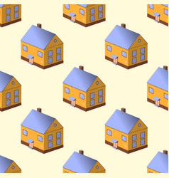 seamless pattern with colorful houses on yellow vector image vector image