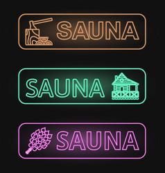 Set of neon sauna banners vector