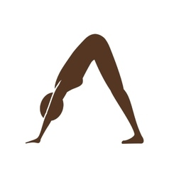 Silhouette of woman doing yoga vector