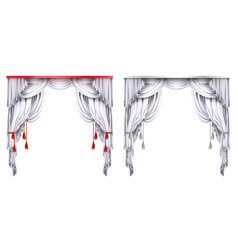 silk velvet drapes with red or white vector image