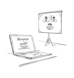 Sketch educational equipment concept vector