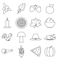 Thanksgiving day autumn icons set outline style vector