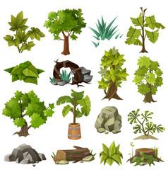 Trees plants landscape gardening elements vector