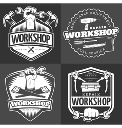 Vintage repair workshop logo set vector