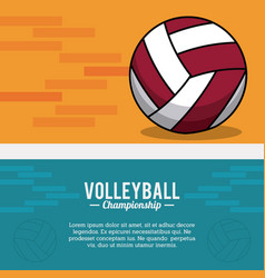Volleyball sport ball championship postcard vector