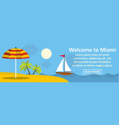 welcome to miami banner horizontal concept vector image