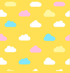 Yellow sky with clouds seamless background vector
