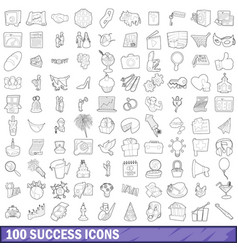 100 success icons set outline style vector