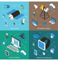 Wireless technology isometric concept vector