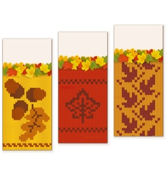 Autumn knitted banners set 2 vector