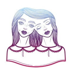 Portrait of mystic siamese twins vector