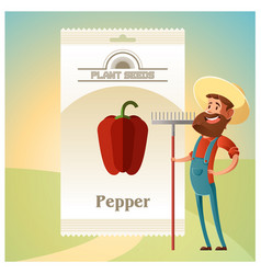 Pack of pepper seeds icon vector