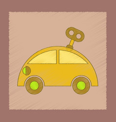flat shading style icon kids car with key vector image