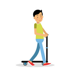 Cute brunette boy teen riding a kick scooter vector