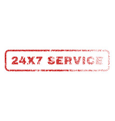 24x7 service rubber stamp vector