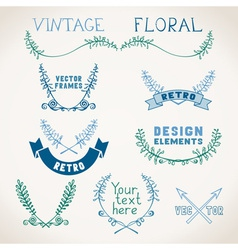 Set of vintage page decorations with floral vector