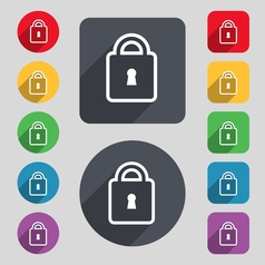 Lock icon sign a set of 12 colored buttons and a vector