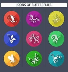 Set of butterflies icons with long shadow vector