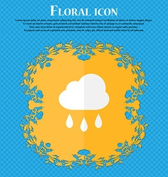 Weather rain floral flat design on a blue vector