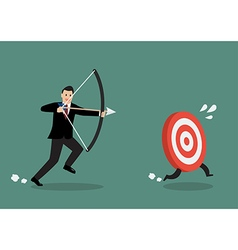 Target run away from businessman archer vector