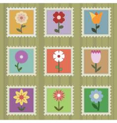 flower stamps vector image
