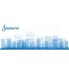 Outline juneau alaska skyline with blue buildings vector