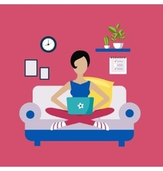 Woman sitting on sofa working freelance vector