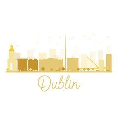Dublin city skyline golden silhouette vector
