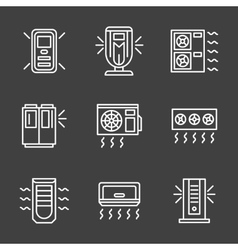 Simple white line air conditioners icons vector