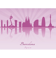 Barcelona skyline in purple radiant orchid vector