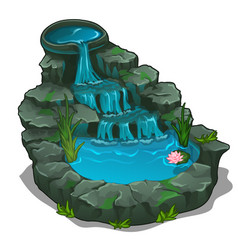 beautiful waterfall with swimming pool vector image vector image