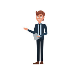 Business man holding document work office vector
