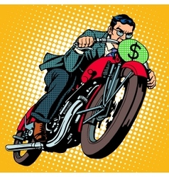 Businessman on a motorcycle Financial success vector image