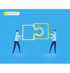 Businessmen connect puzzle vector