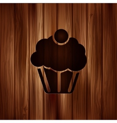 Cake web icon wooden background vector