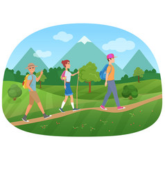 Cheerful group of tourists walking on the road vector
