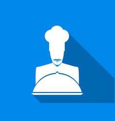 chef flat icon with long shadow vector image
