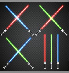 crossed light swords on dark plaid background vector image