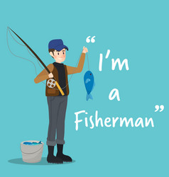 Fisherman character with fish on sky blue vector