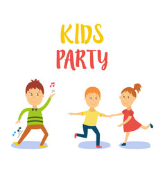 flat cartoon kid at party set vector image