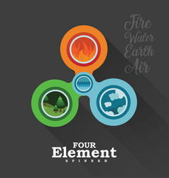 four element spinner in black vector image vector image