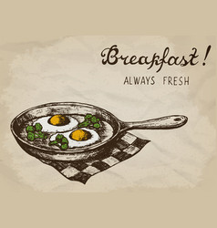 Fried eggs with broccoli on the pan hand drawn vector