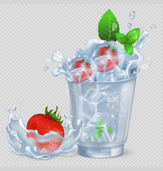 frozen strawberry and mint in glass with water vector image