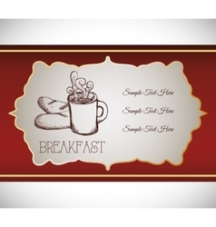 hand drawing breakfast coffee bread food retro vector image