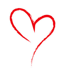 hand-drawn sketchy doodle red heart on white vector image