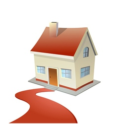 house with red carpet road vector image
