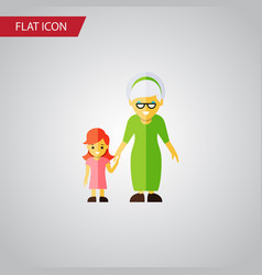 isolated grandma flat icon grandchild vector image vector image