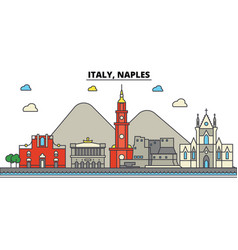italy naples city skyline architecture vector image