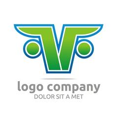 Letter f v alphabet green company symbol icon vector