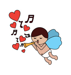 love cupid flying with trumpet music hearts vector image